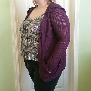 Mudd purple hooded cardigan